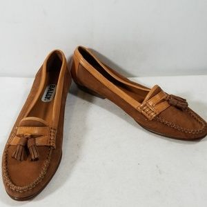 Bally Brown/Tan Leather Slip On Loafers Shoes 7.5N